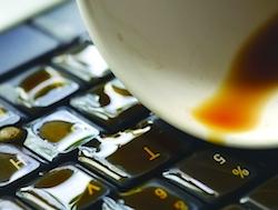 Liquid spilit on a laptop keyboard