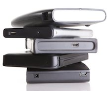 Stacked external hard drives