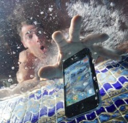 A phone dropped in water