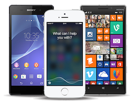 Different brands of mobile smart phone