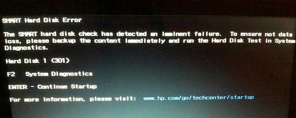 Hard disk SMART error