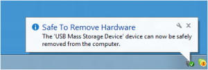 Message: Safe to remove hardware
