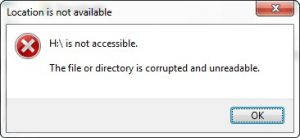 Error message: The file or directory is corrupted and unreadable