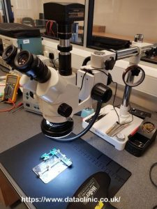 Stereo microscope digital forensic data recovery