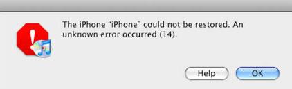 iPhone error 14 error message