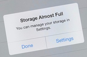 Storage Almost Full iPhone message